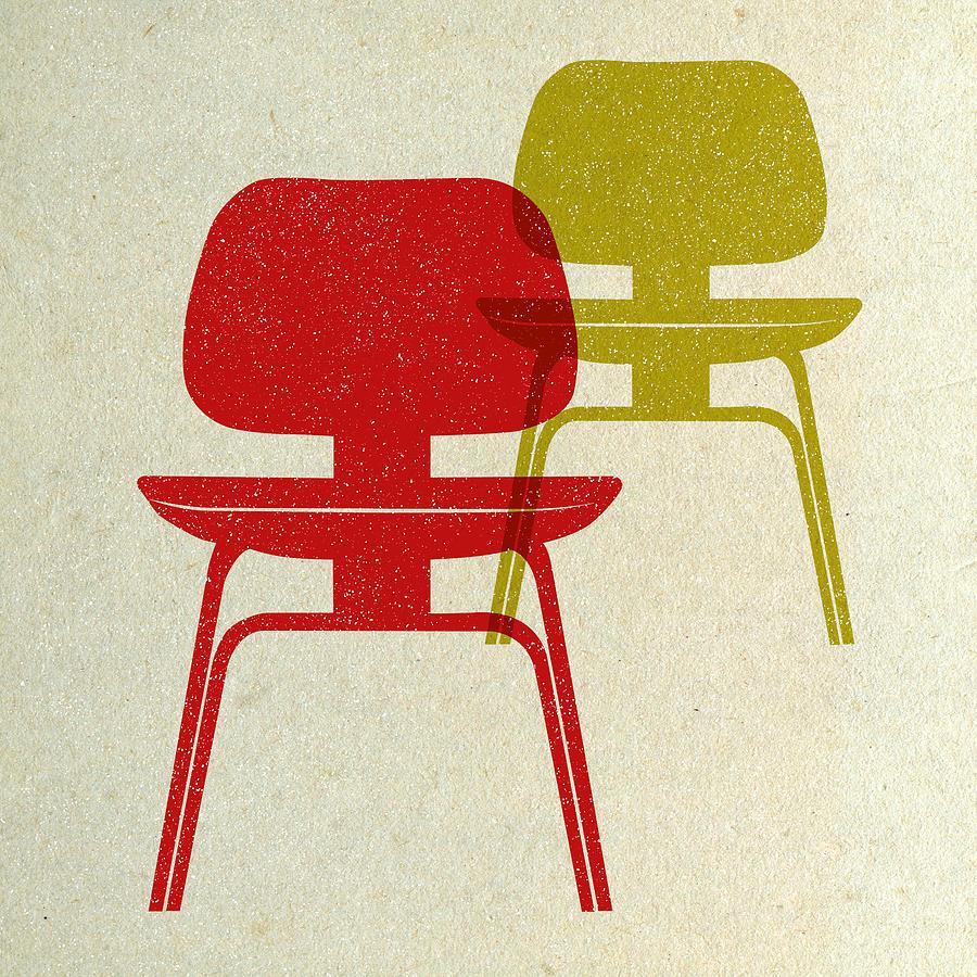 Mid-century Digital Art - Mid Century Chairs Print by Naxart Studio