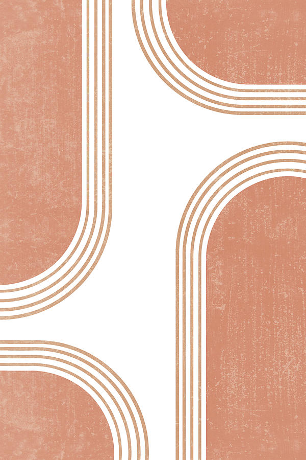 Mid Century Modern 4 - Geometrical Abstract - Minimal Print - Terracotta Abstract - Burnt Sienna Mixed Media