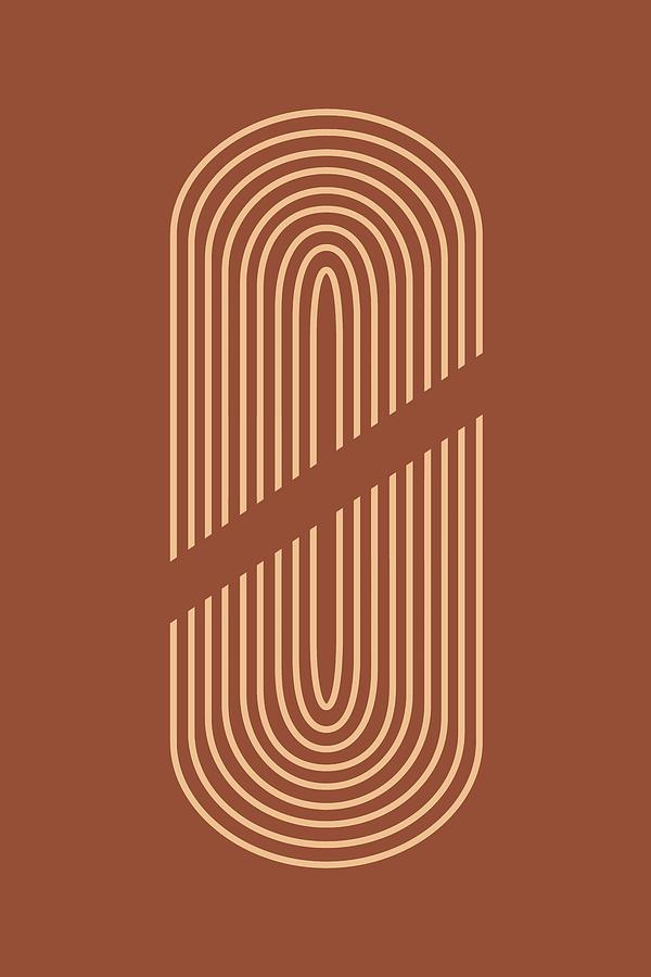 Mid Century Modern 6 - Geometrical Abstract - Minimal Print - Terracotta Abstract - Burnt Sienna Mixed Media