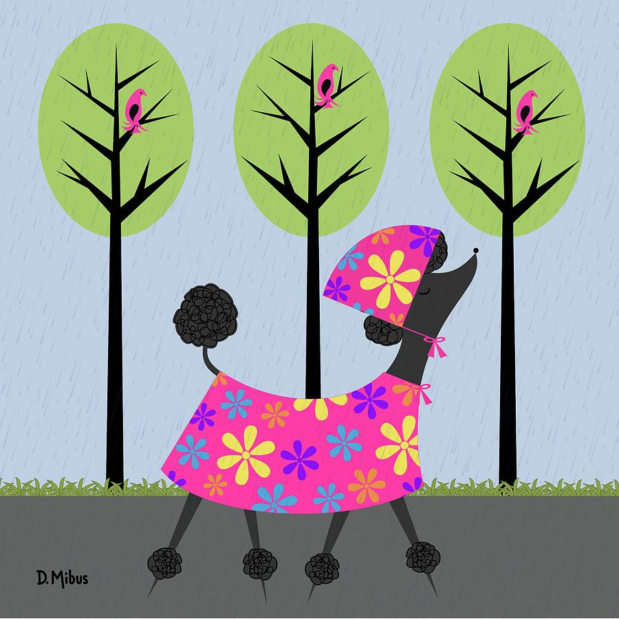 Mid Century Modern Black Poodle Spring by Donna Mibus
