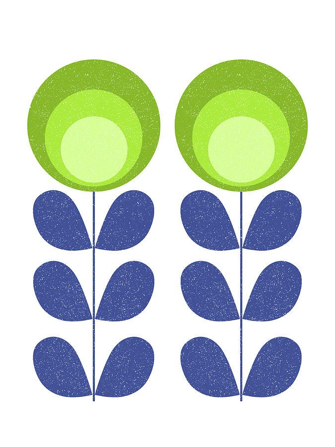 Mid Century Mixed Media - Mid Century Modern Green Flowers  by Naxart Studio