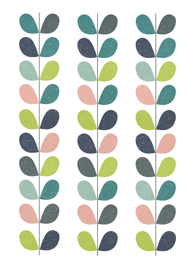 Mid Century Modern Leaf Pattern Mixed Media by Naxart Studio