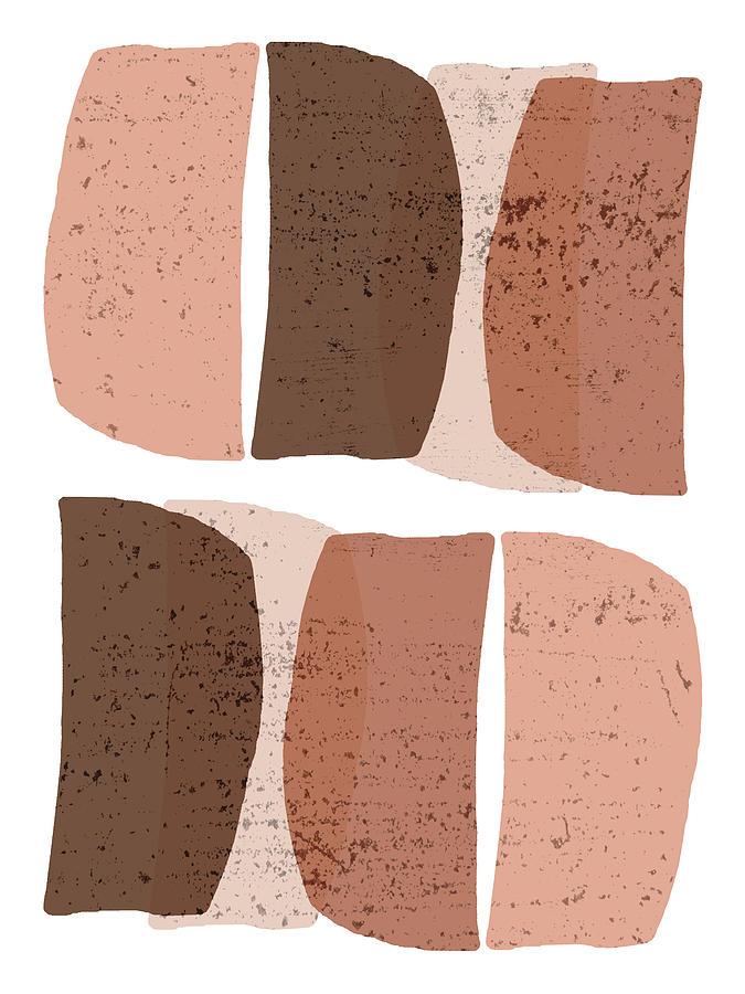 Mid Century Modern Organic Abstract 4 - Minimal Print - Terracotta Abstract - Brown Mixed Media