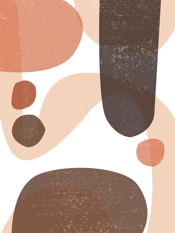 Mid Century Modern Organic Abstract 5 - Minimal Print - Terracotta Abstract - Brown Mixed Media