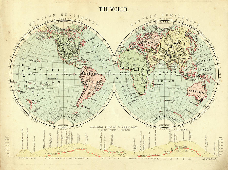 Mid-victorian World Map Photograph by Whitemay