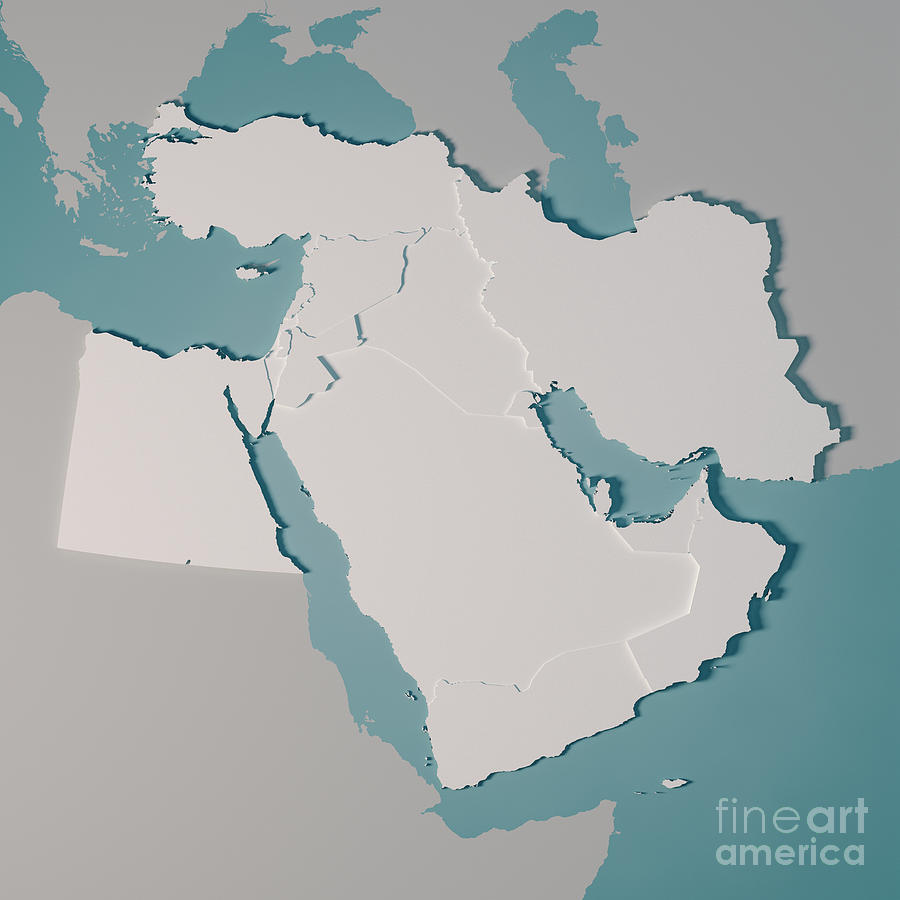 Middle East Country Map 3d Render