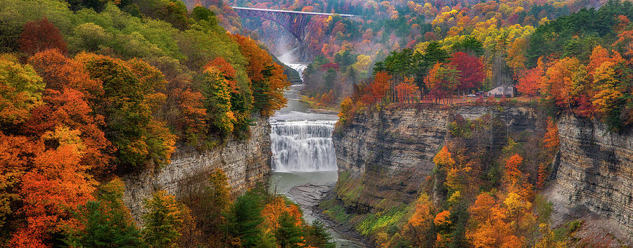 Middle Falls Fall Pano by Mark Papke