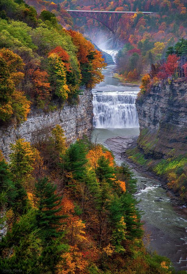 Middle Falls In Peak Fall by Mark Papke