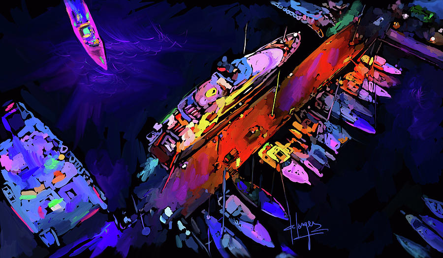Midnight Harbour Painting by D...