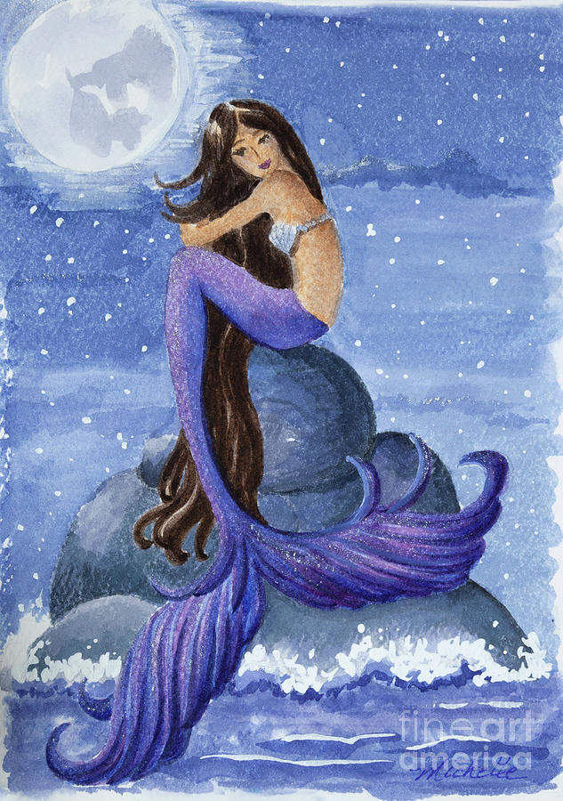 Midnight Mermaid Painting By Michelle Constantine