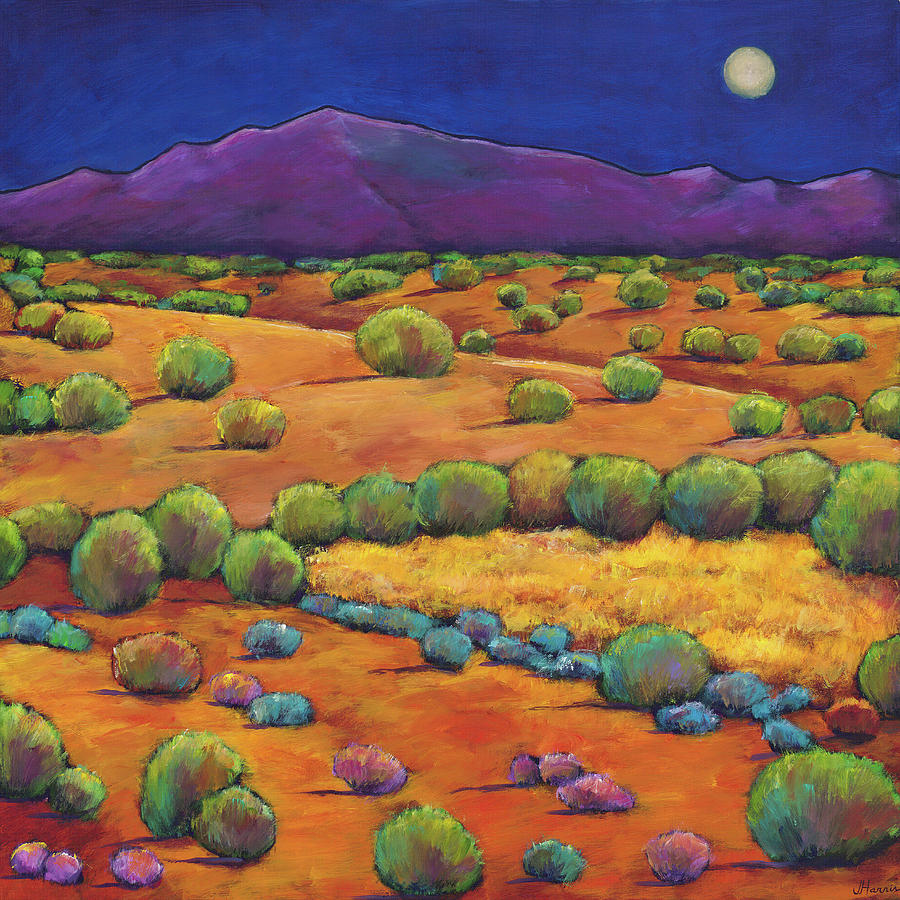 Contemporary Southwest Painting - Midnight Sagebrush by Johnathan Harris