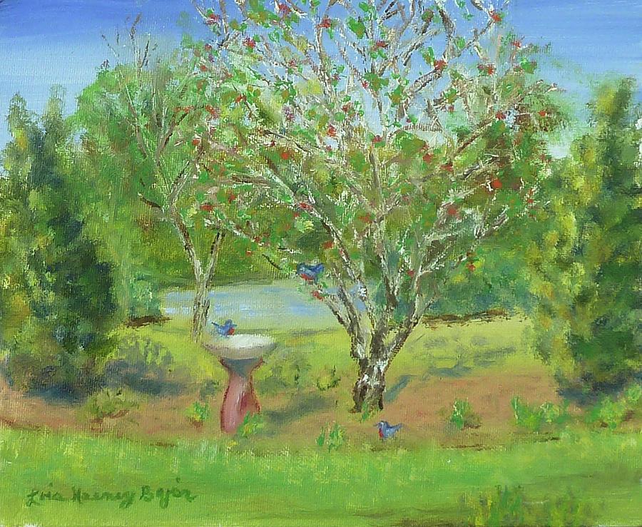 Blue Birds Painting - Migrating Blue Birds by Lois Bajor