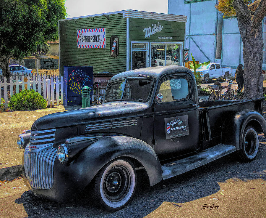 Mike's Barber Shop and Pickup Truck by Floyd Snyder