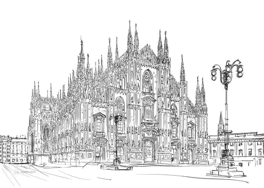 Milan Cathedral Drawing Drawing