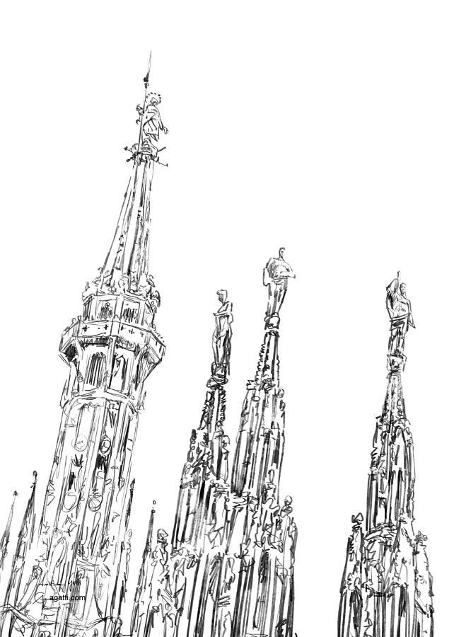 Milan Cathedral Spires Drawing Drawing