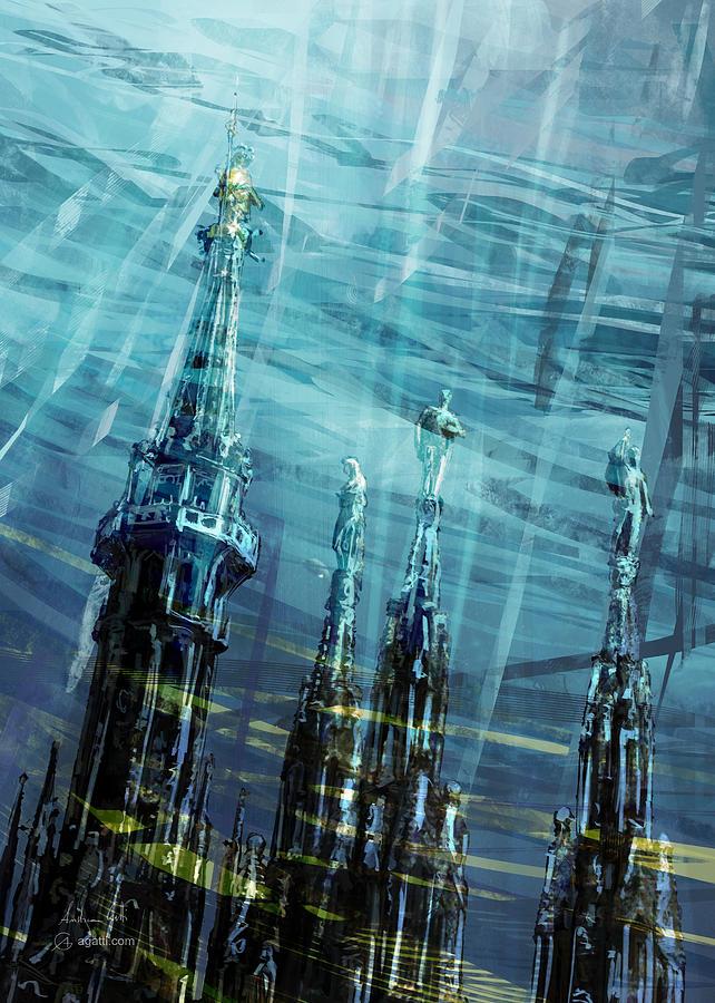 Milan Cathedral Spires Paint3 Digital Art