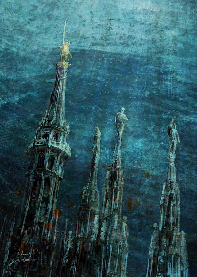 Milan Cathedral Spires Sea Digital Art