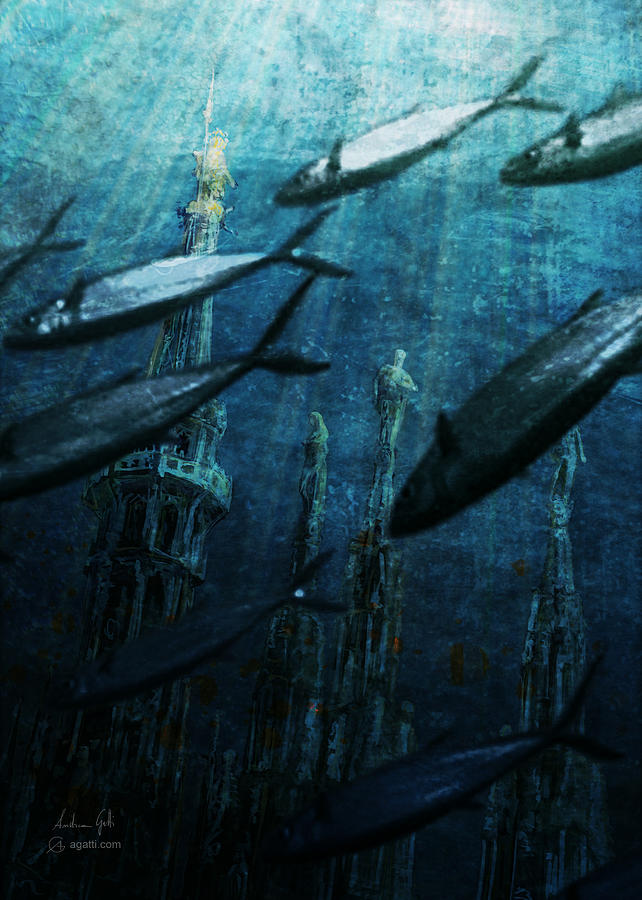 Milan Cathedral Spires Underwater 2019 Digital Art