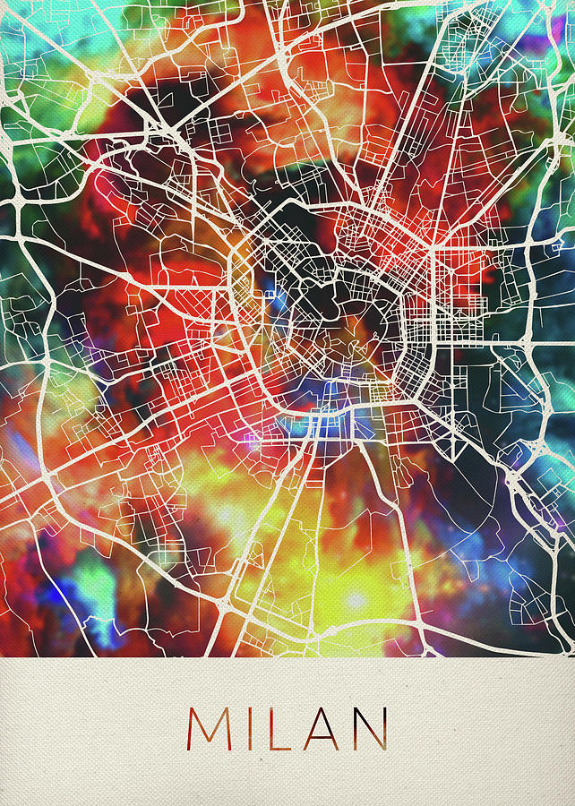 Milan Italy Watercolor City Street Map Mixed Media by Design Turnpike