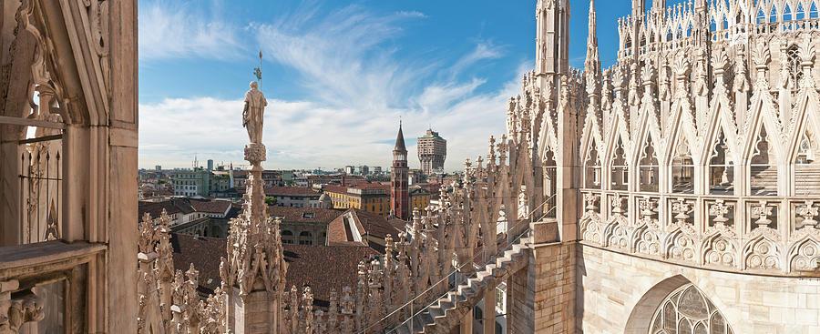 Milan Spires Statues Landmarks Duomo Photograph by Fotovoyager
