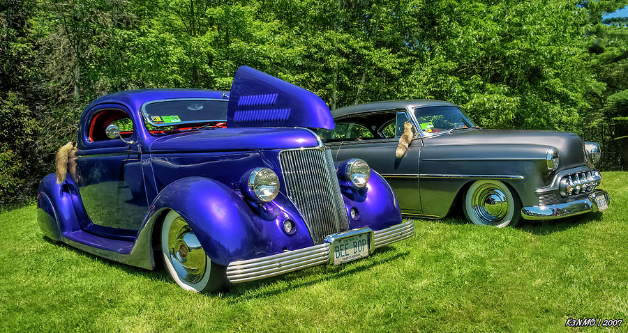 1936 Digital Art - Mild Customs 1936 Ford And 1953 Chevy by Ken Morris