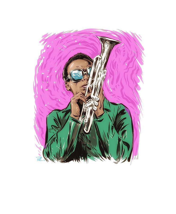 Miles Davis Digital Art - Miles Davis - An Illustration By Paul Cemmick by David Richardson