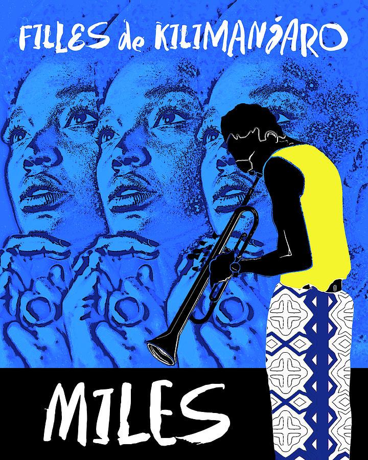 Miles Davis Digital Art - Miles Davis Blue - Filles De Kilimanjaro by Regina Wyatt
