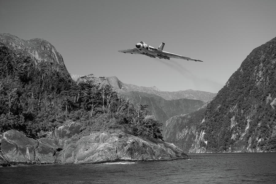 Milford Sound Vulcan BW version by Gary Eason