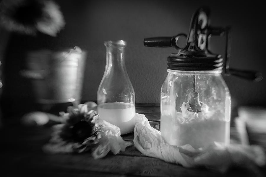 Milk And Butter In Black And White Photograph