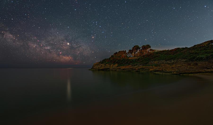 Milky Way Photograph - Milky Way and Jupiter At Cava Grande Beach -  Sicily - Italy by Dario Giannobile