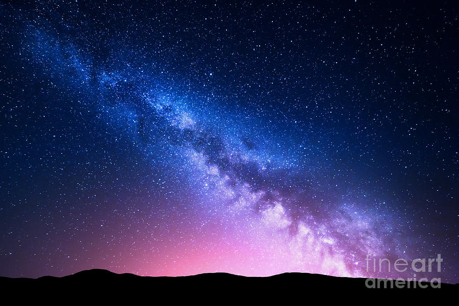 Nocturnal Photograph - Milky Way And Pink Light At Mountains by Denis Belitsky
