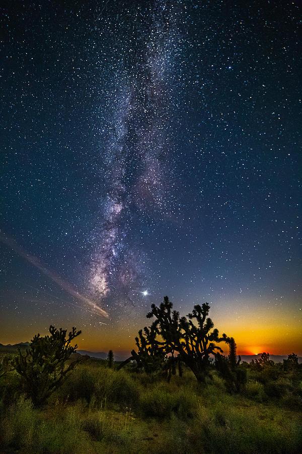 Mojave Desert Photograph - Milky Way Moonset by Matt Deifer