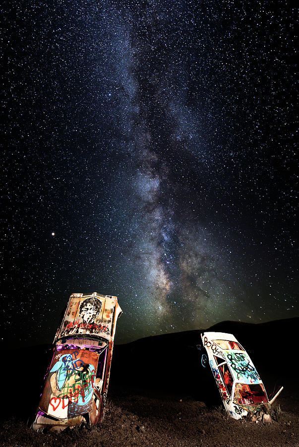 Milky Way Over Mojave Desert Graffiti 1 by James Sage