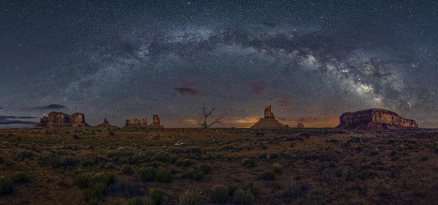 Milky Way Over The Monument Valley Photograph by Hua Zhu