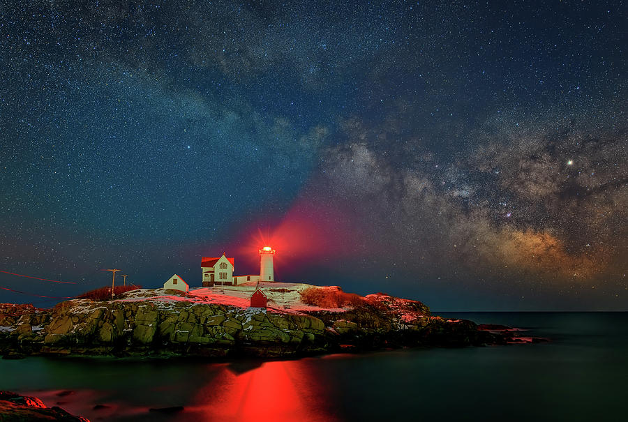 Milky Way Over The Nubble by Rick Berk