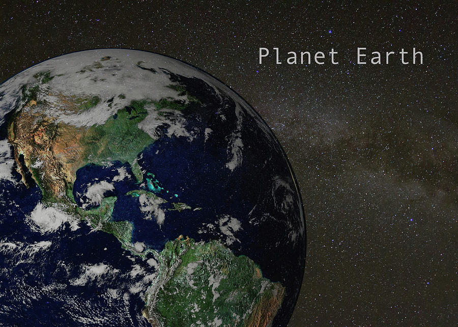 Milky Way with Planet Earth by Karen Foley