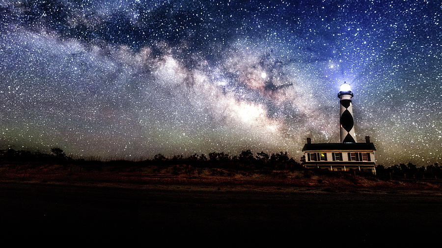 Milkyway Over Cape Lookout Lighthouse Pano by Rob Narwid