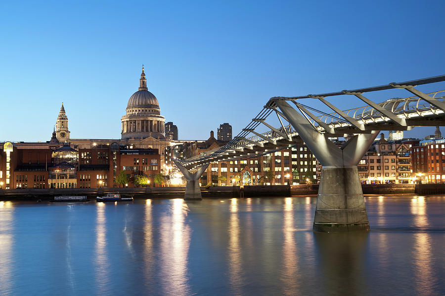 Millenium Bridge And St. Pauls, London Photograph by John Harper