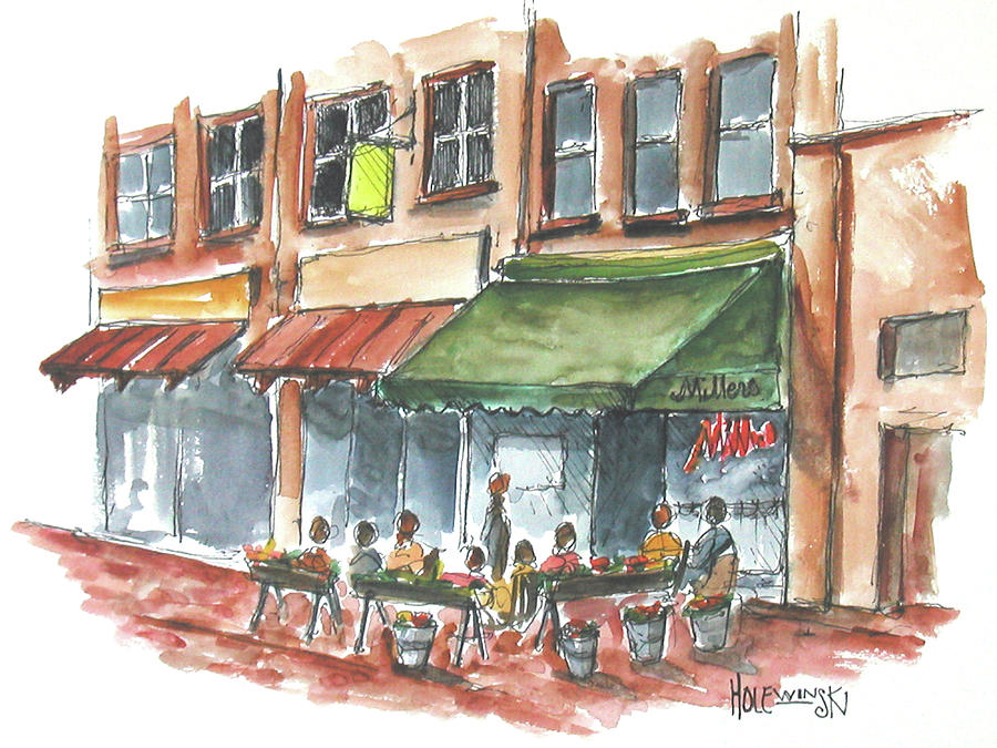 Downtown Mall Painting - Millers On The Downtown Mall by Robert Holewinski