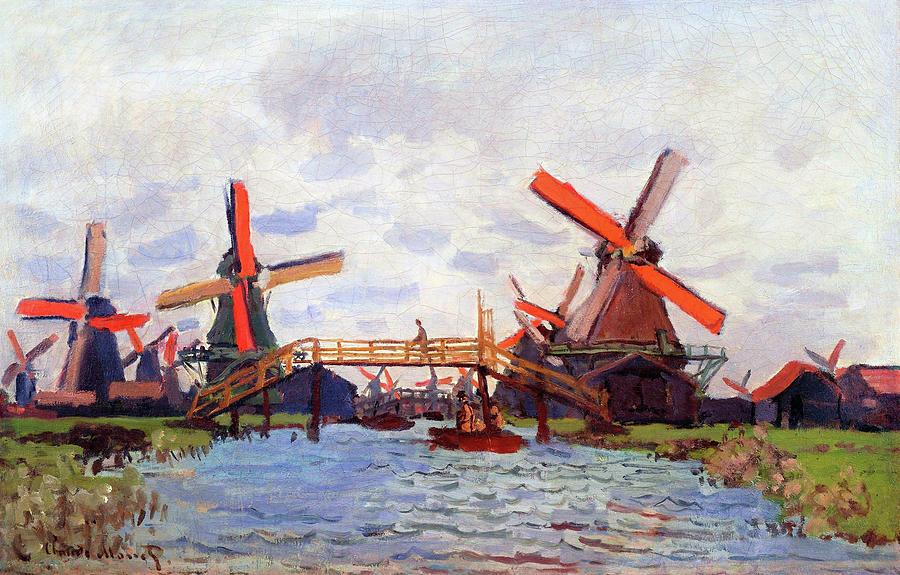 Claude Monet Painting - Mills At Westzijderveld Near Zaandam - Digital Remastered Edition by Claude Monet