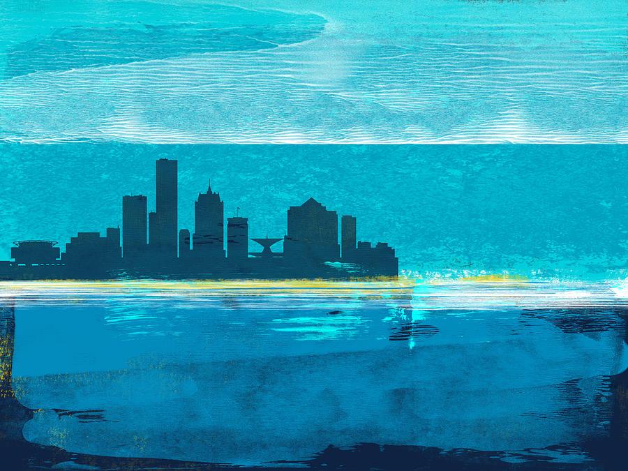 Milwaukee Mixed Media - Milwaukee Abstract Skyline I by Naxart Studio