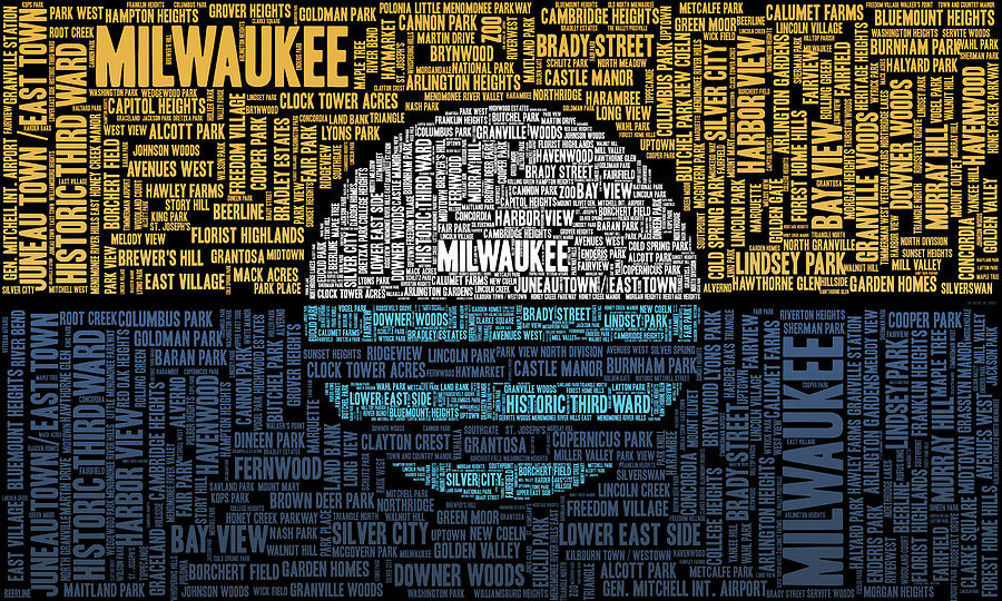 Milwaukee Neighborhood Word Cloud Digital Art