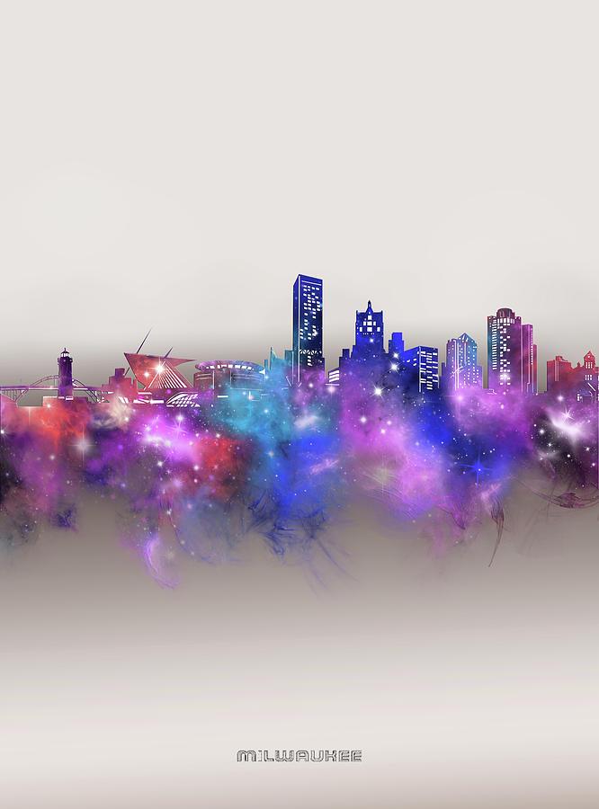 Milwaukee Digital Art - Milwaukee Skyline Galaxy by Bekim M