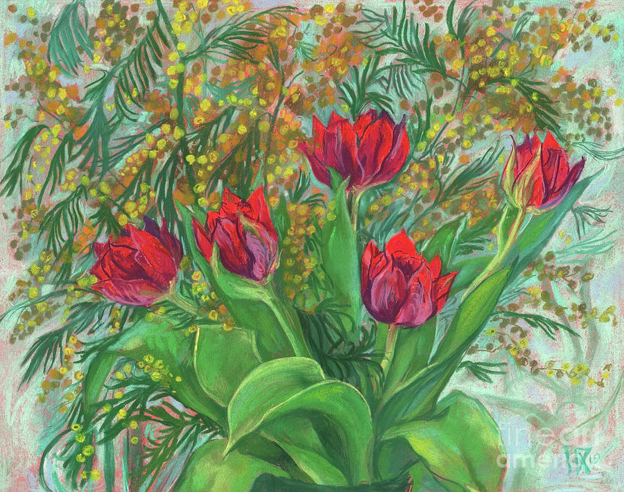 Tulips Pastel - Mimosa and Tulips, Spring Flowers by Julia Khoroshikh