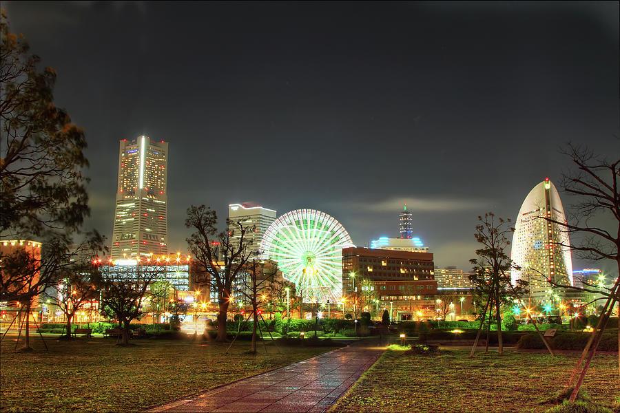 Minato Mirais Famous Landmarks At Night Photograph by Agustin Rafael C. Reyes