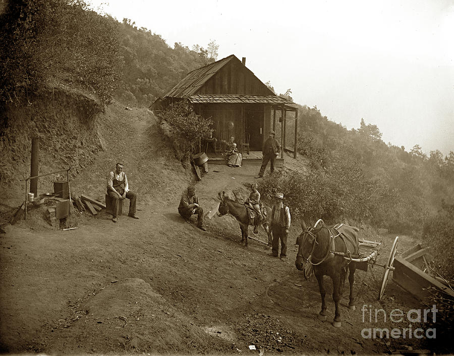 Miners cabin and family with outdoor stove Circa 1903 by California Views Archives Mr Pat Hathaway Archives