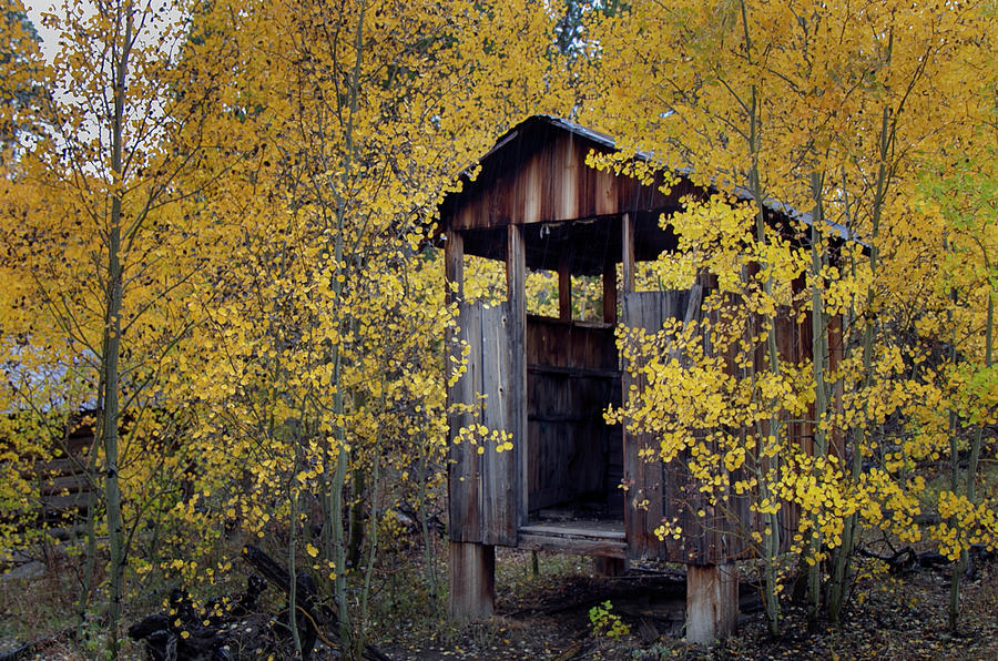 Fall Photograph - Miners Delight Smoke House in Fall by Laura Terriere