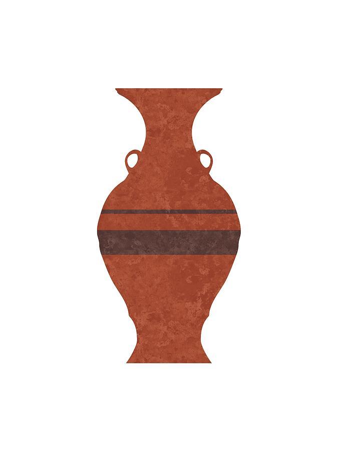 Abstract Mixed Media - Minimal Abstract Greek Vase 11 - Hydria - Terracotta Series - Modern, Contemporary Print - Brown by Studio Grafiikka