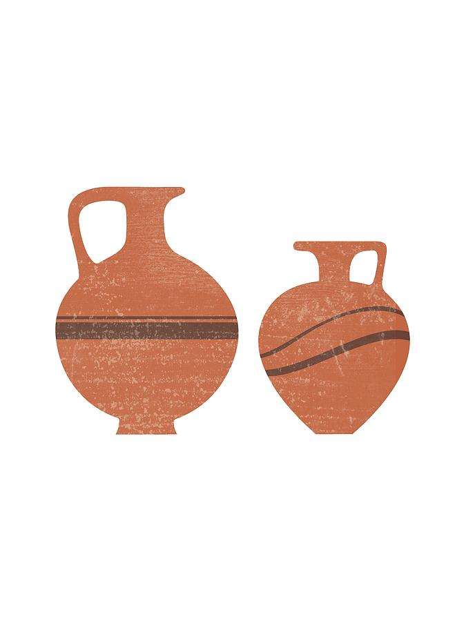 Abstract Mixed Media - Minimal Abstract Greek Vase 20 - Oinochoe - Terracotta Series - Modern, Contemporary Print - Sienna by Studio Grafiikka