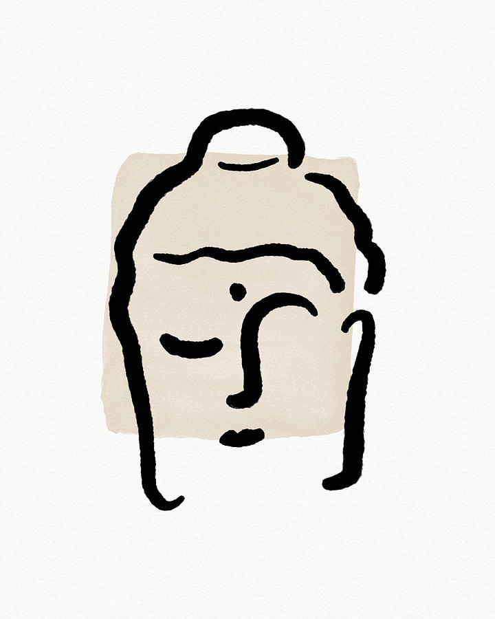 Minimal Mixed Media - Minimal Buddha 4- Art By Linda Woods by Linda Woods